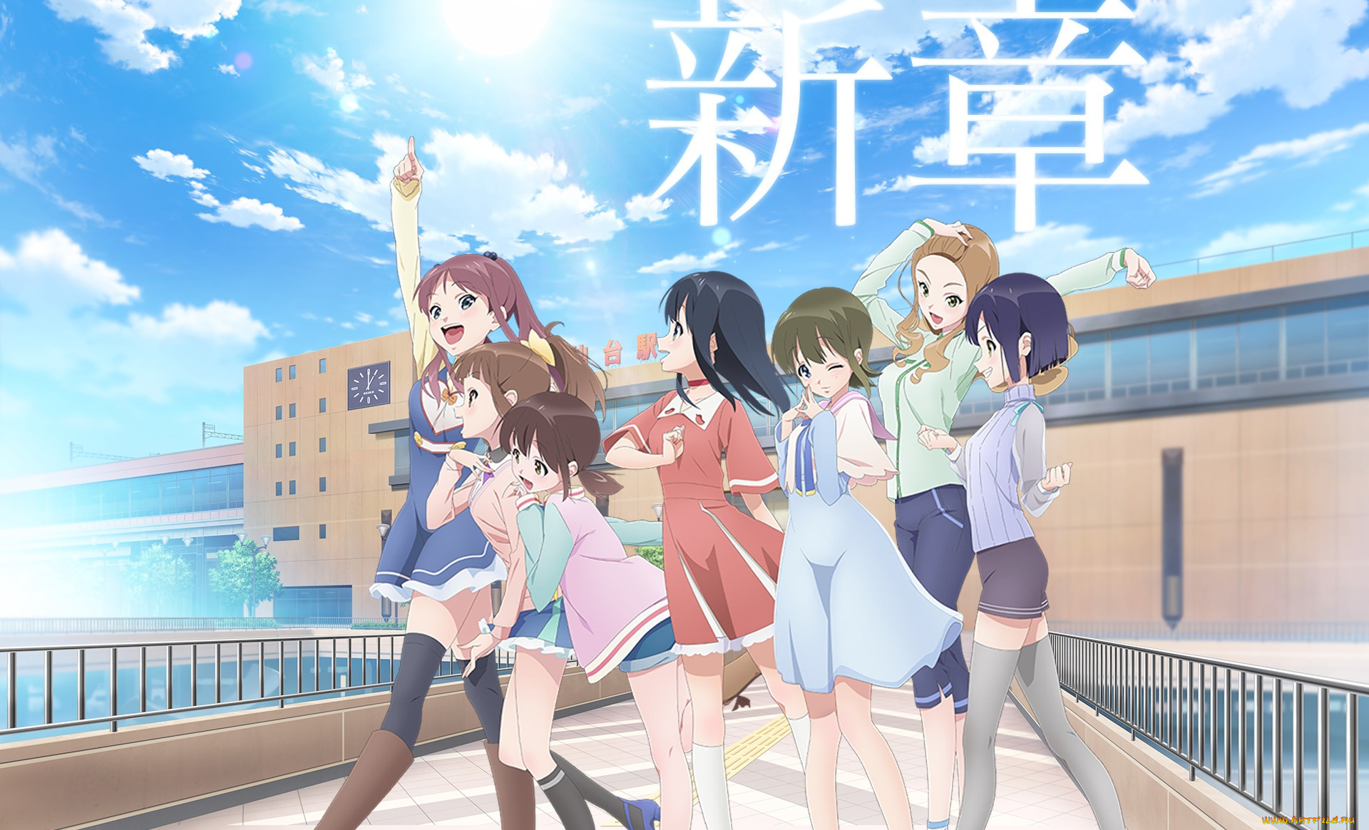 wake up,  girls,  shichi-nin no idol, аниме, unknown,  другое, взгляд, девушки, фон